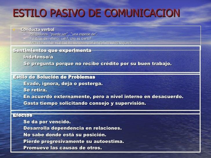 """ESTILO PASIVO DE COMUNICACION <ul><li>Conducta verbal </li></ul><ul><ul><li>Mitigadores: """"puede ser"""" , """"una especie de"""". <..."""