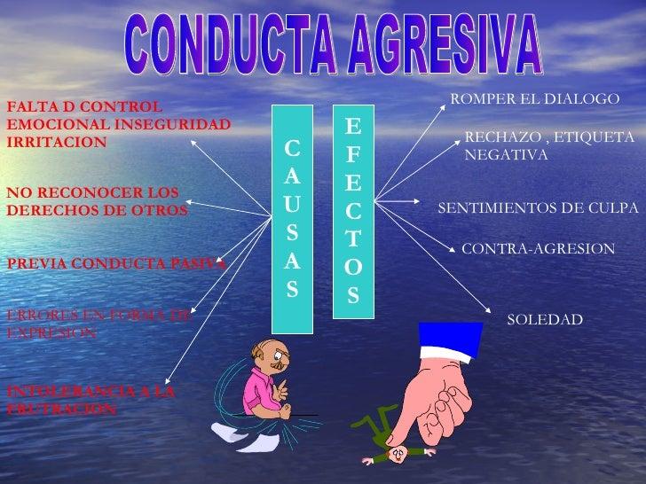 CONDUCTA AGRESIVA C A U S A S E F E C T O S FALTA D CONTROL EMOCIONAL INSEGURIDAD IRRITACION NO RECONOCER LOS  DERECHOS DE...