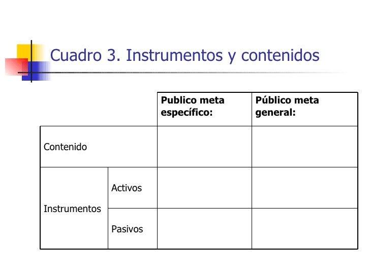 Cuadro 3.  Instrumentos y contenidos   Pasivos Activos Instrumentos Contenido Público meta general: Publico meta específico: