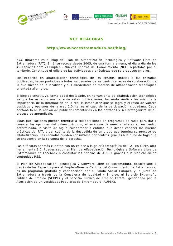 Comunicación BLOG: NCC BITÁCORAS                                  NCC BITÁCORAS                   http://www.nccextremadur...