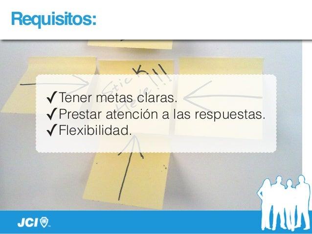 Requisitos: ✓Tener metas claras. ✓Prestar atención a las respuestas. ✓Flexibilidad.