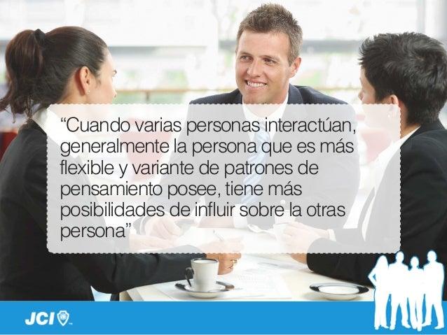 """""""Cuando varias personas interactúan, generalmente la persona que es más flexible y variante de patrones de pensamiento pos..."""
