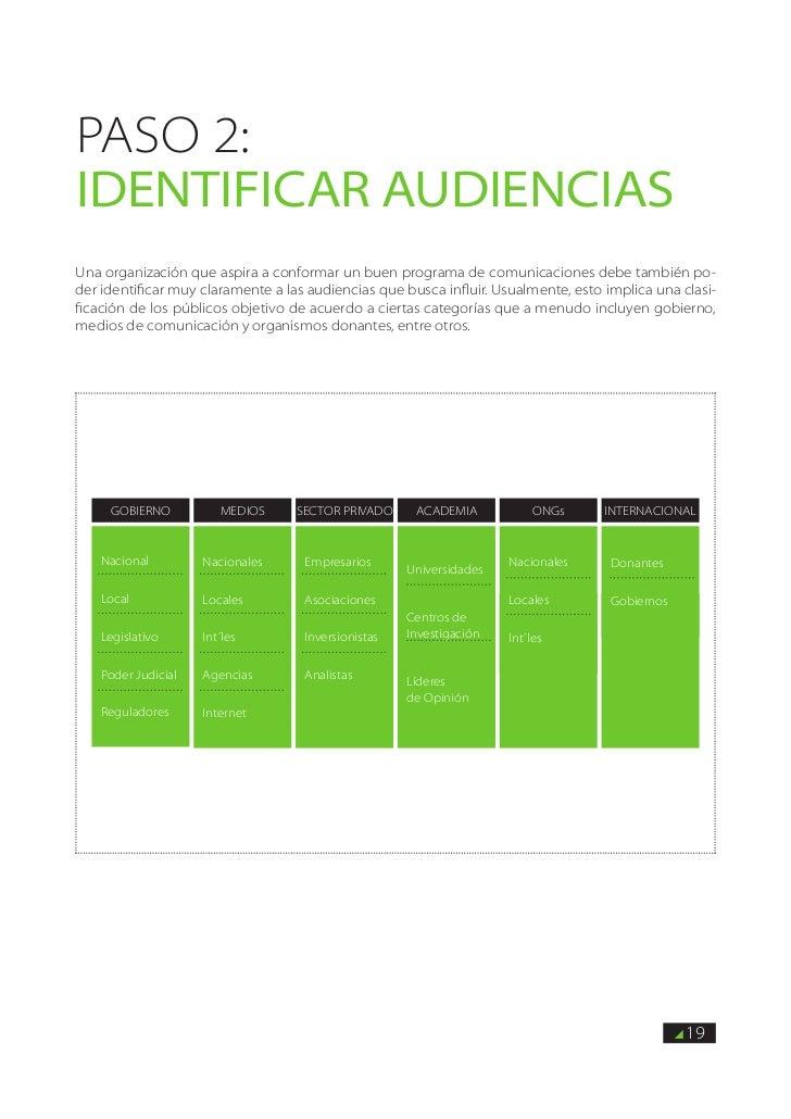 PASO 2:identificar audienciasUna organización que aspira a conformar un buen programa de comunicaciones debe también po-de...