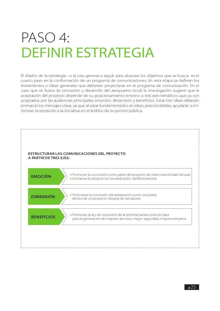 PASO 4:DEFINIR estrategiaEl diseño de la estrategia –o la ruta general a seguir para alcanzar los objetivos que se busca- ...