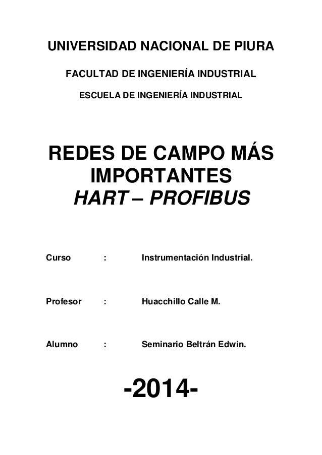 UNIVERSIDAD NACIONAL DE PIURA FACULTAD DE INGENIERÍA INDUSTRIAL ESCUELA DE INGENIERÍA INDUSTRIAL REDES DE CAMPO MÁS IMPORT...