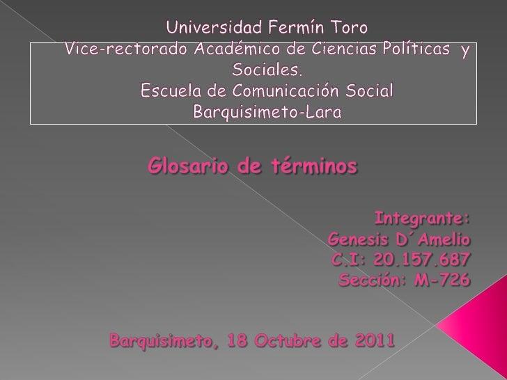 Universidad Fermín ToroVice-rectorado Académico de Ciencias Políticas  y Sociales.Escuela de Comunicación SocialBarquisime...