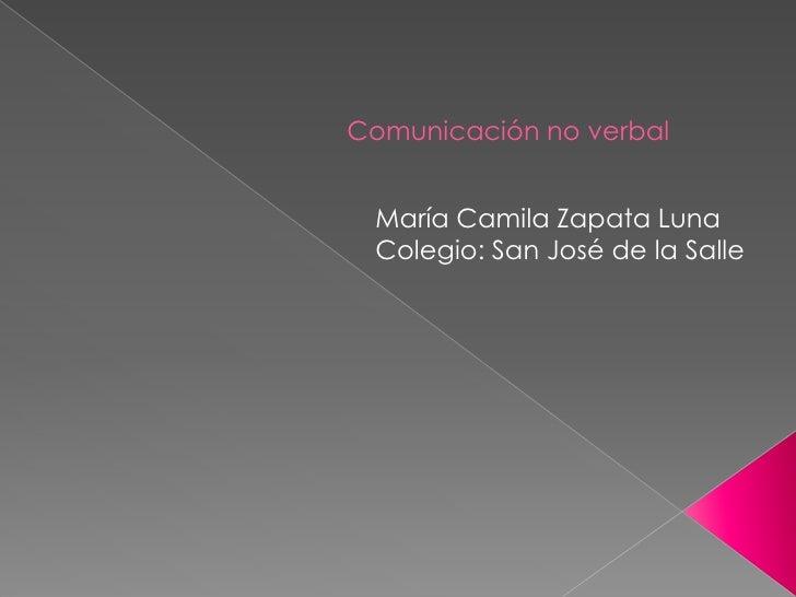 Comunicación no verbal María Camila Zapata Luna Colegio: San José de la Salle