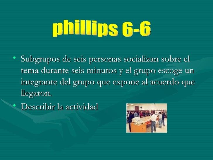 <ul><li>Subgrupos de seis personas socializan sobre el tema durante seis minutos y el grupo escoge un integrante del grupo...