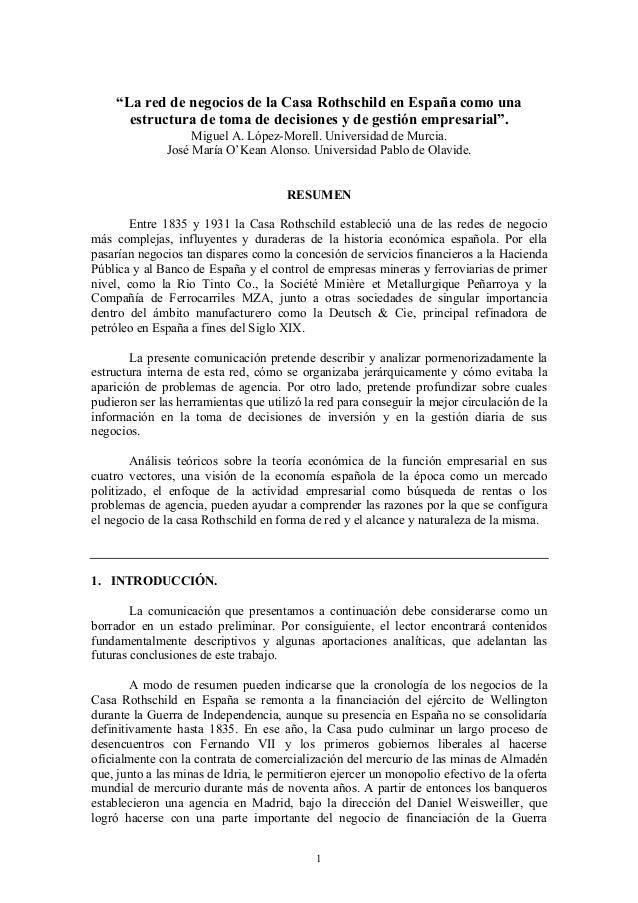 """1 """"La red de negocios de la Casa Rothschild en España como una estructura de toma de decisiones y de gestión empresarial""""...."""