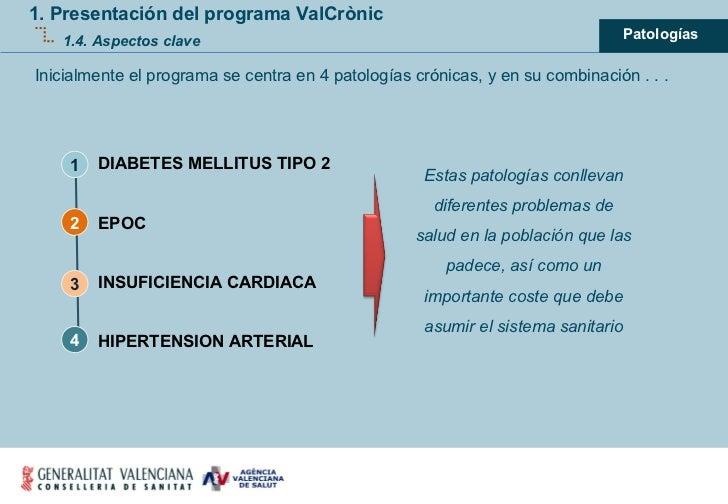 1. Presentación del programa ValCrònic 1.4. Aspectos clave Inicialmente el programa se centra en 4 patologías crónicas, y ...