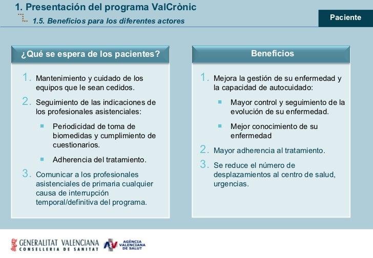 1. Presentación del programa ValCrònic 1.5. Beneficios para los diferentes actores <ul><ul><li>Mejora la gestión de su enf...