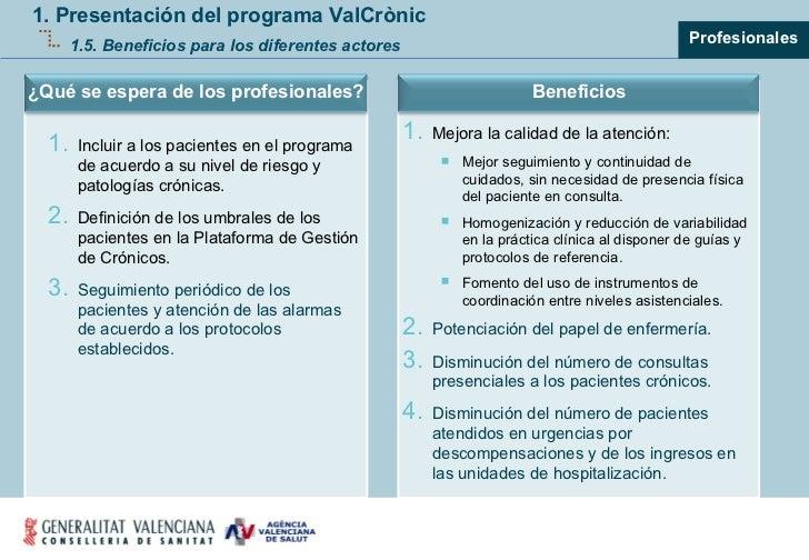 1. Presentación del programa ValCrònic 1.5. Beneficios para los diferentes actores <ul><ul><ul><li>Profesionales </li></ul...