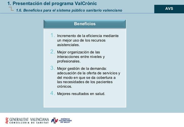 1. Presentación del programa ValCrònic 1.6. Beneficios para el sistema público sanitario valenciano <ul><ul><ul><li>AVS </...