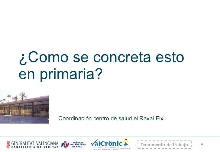 ¿Como se concreta esto en primaria? Coordinación centro de salud el Raval Elx