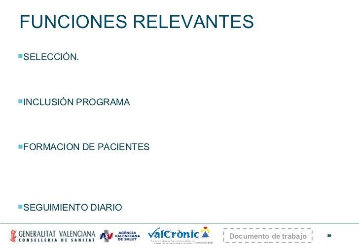 FUNCIONES RELEVANTES <ul><li>SELECCIÓN. </li></ul><ul><li>INCLUSIÓN PROGRAMA </li></ul><ul><li>FORMACION DE PACIENTES </li...