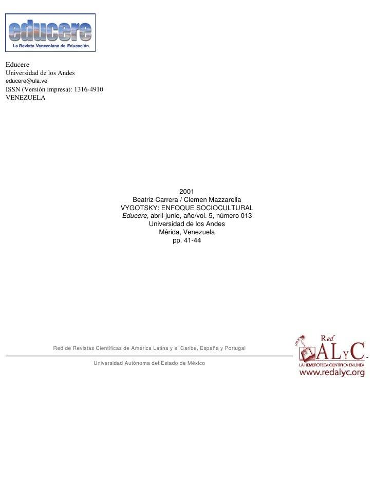 Educere Universidad de los Andes educere@ula.ve ISSN (Versión impresa): 1316-4910 VENEZUELA                               ...