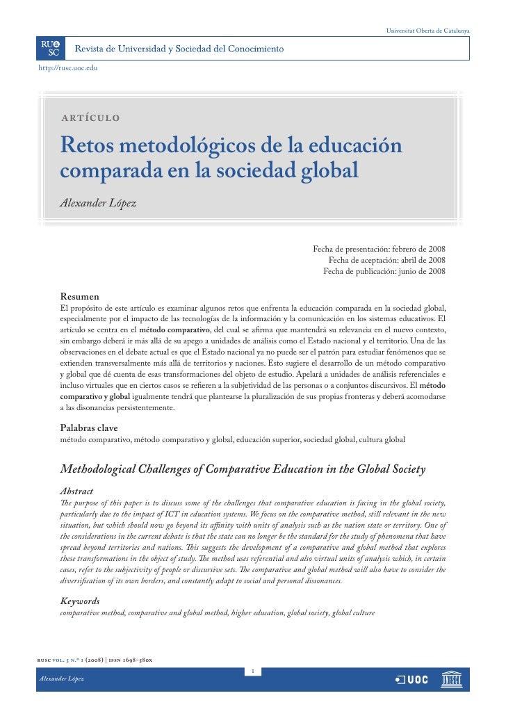 Universitat Oberta de Catalunya     http://rusc.uoc.edu             artículo          Retos metodológicos de la educación ...