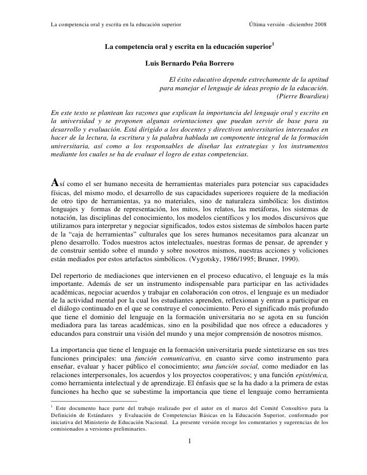 La competencia oral y escrita en la educación superior                         Última versión –diciembre 2008             ...