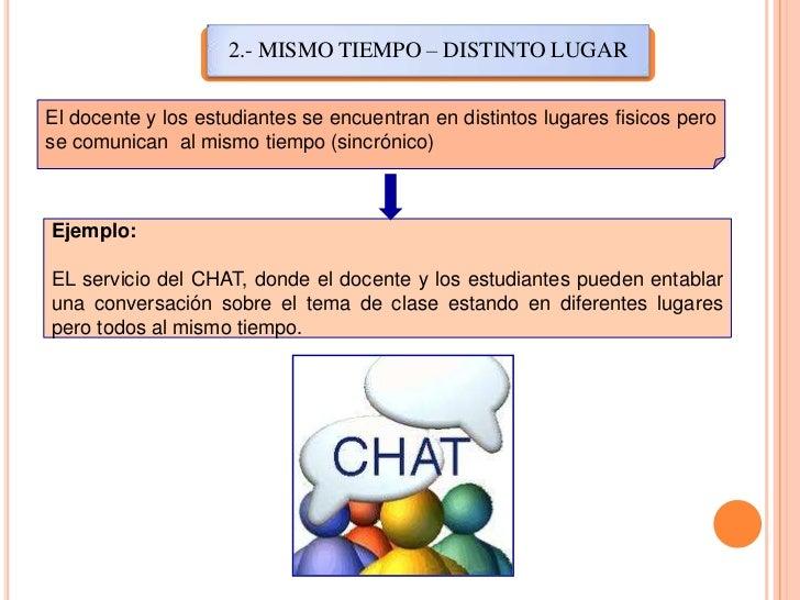2.- MISMO TIEMPO – DISTINTO LUGAR<br />El docente y los estudiantes se encuentran en distintos lugares fisicos pero se com...