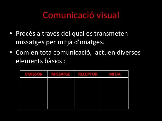 Comunicació visual  • Procés a través del qual es transmeten  missatges per mitjà d'imatges.  • Com en tota comunicació, a...