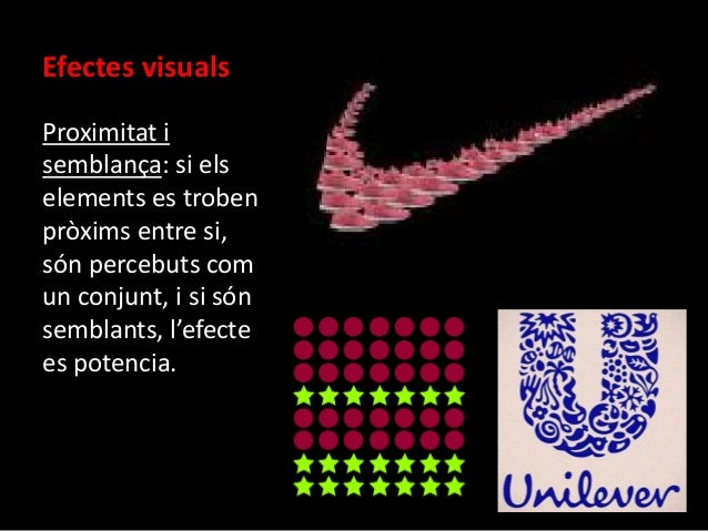 Efectes visuals  Proximitat i  semblança: si els  elements es troben  pròxims entre si,  són percebuts com  un conjunt, i ...