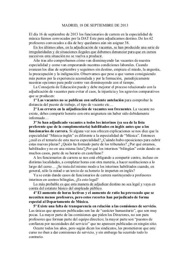 MADRID, 18 DE SEPTIEMBRE DE 2013 El día 16 de septiembre de 2013 los funcionarios de carrera en la especialidad de música ...