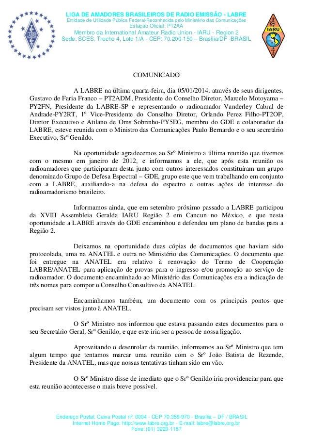 LIGA DE AMADORES BRASILEIROS DE RADIO EMISSÃO - LABRE Entidade de Utilidade Pública Federal-Reconhecida pelo Ministério da...