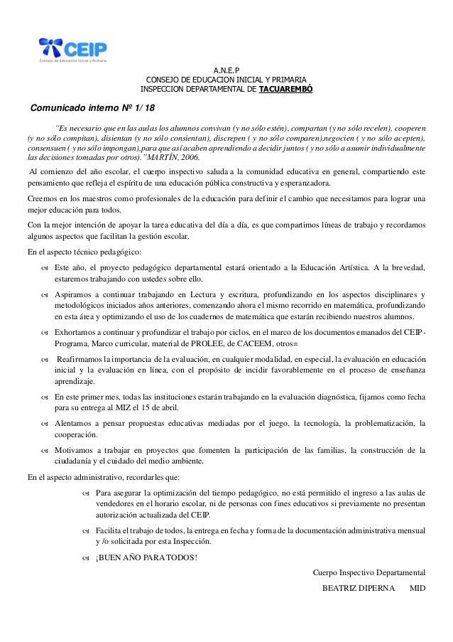 """A.N.E.P CONSEJO DE EDUCACION INICIAL Y PRIMARIA INSPECCION DEPARTAMENTAL DE TACUAREMBÓ Comunicado interno Nº 1/ 18 """"Es nec..."""