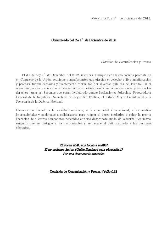 México, D.F. a 1° de diciembre del 2012.                         Comunicado del día 1°de Diciembre de 2012                ...