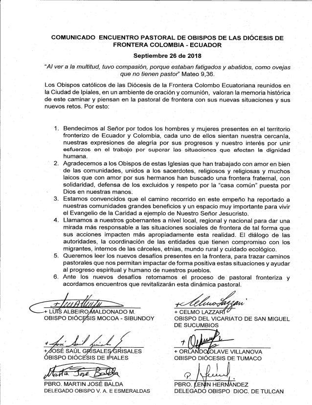 Comunicado Encuentro Pastoral de Obispos de las Diócesis de Frontera COLOMBIA-ECUADOR