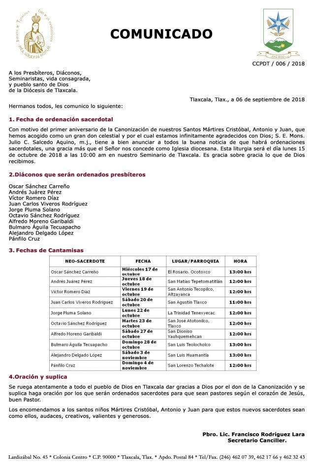 Comunicado Ordenaciones Sacerdotales 2018