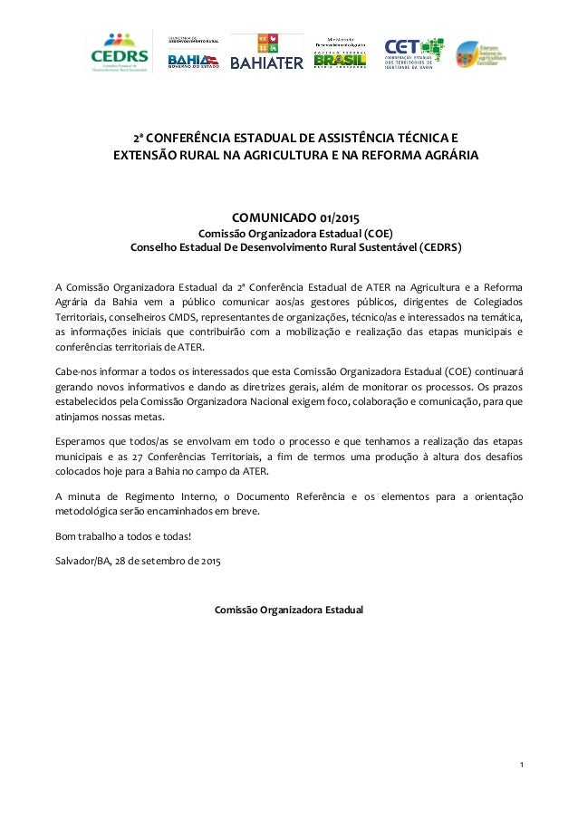 1 2ª CONFERÊNCIA ESTADUAL DE ASSISTÊNCIA TÉCNICA E EXTENSÃO RURAL NA AGRICULTURA E NA REFORMA AGRÁRIA COMUNICADO 01/2015 C...