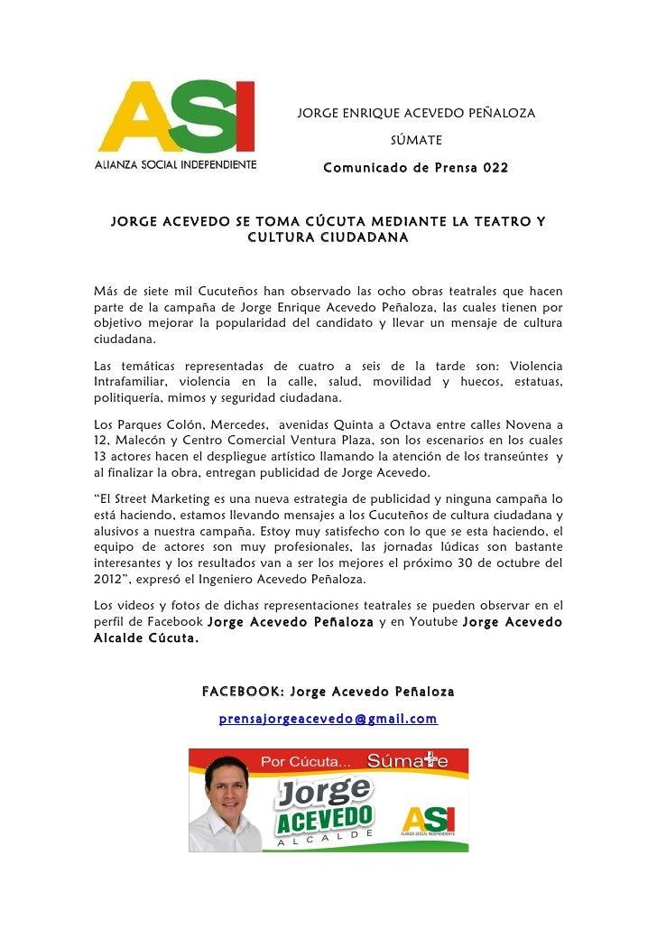 JORGE ENRIQUE ACEVEDO PEÑALOZA                                                   SÚMATE                                   ...