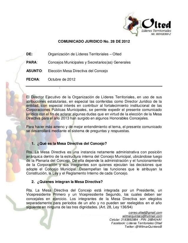 COMUNICADO JURIDICO No. 28 DE 2012DE:          Organización de Líderes Territoriales – OltedPARA:        Concejos Municipa...