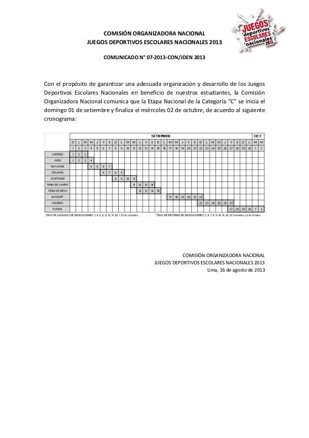 COMISIÓN ORGANIZADORA NACIONAL JUEGOS DEPORTIVOS ESCOLARES NACIONALES 2013 COMUNICADO N° 07-2013-CON/JDEN 2013 Con el prop...