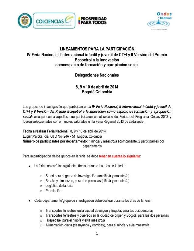 LINEAMIENTOS PARA LA PARTICIPACIÓN IV Feria Nacional, II Internacional infantil y juvenil de CT+I y II Versión del Premio ...