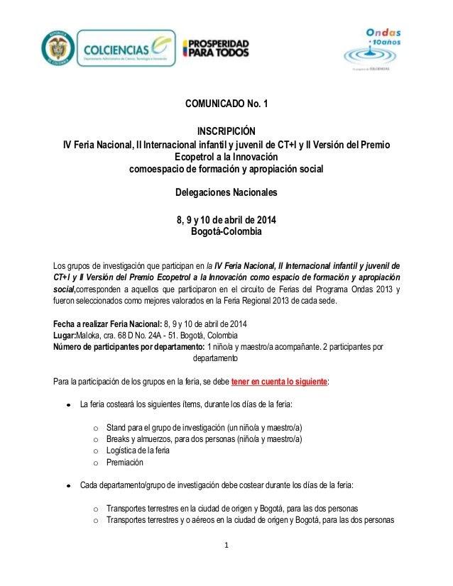 COMUNICADO No. 1 INSCRIPICIÓN IV Feria Nacional, II Internacional infantil y juvenil de CT+I y II Versión del Premio Ecope...