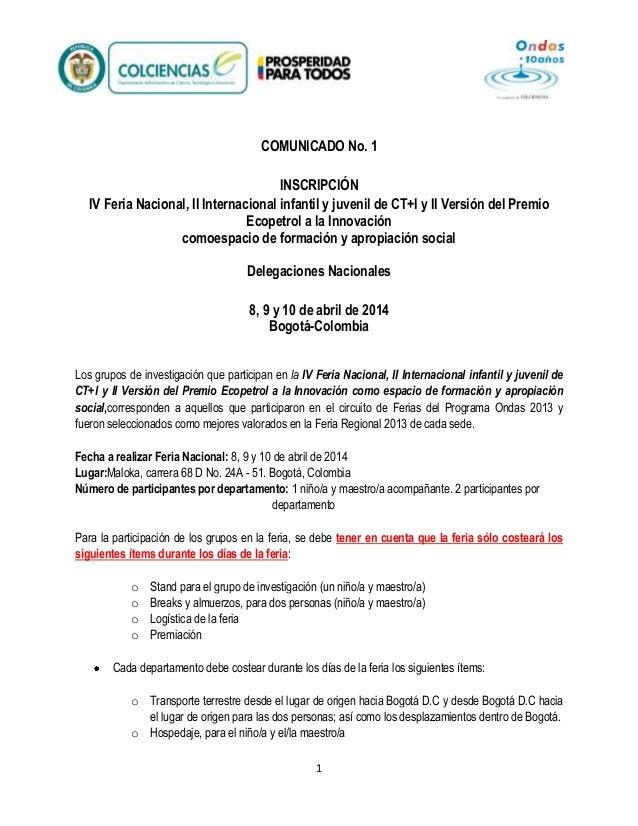 COMUNICADO No. 1 INSCRIPCIÓN IV Feria Nacional, II Internacional infantil y juvenil de CT+I y II Versión del Premio Ecopet...