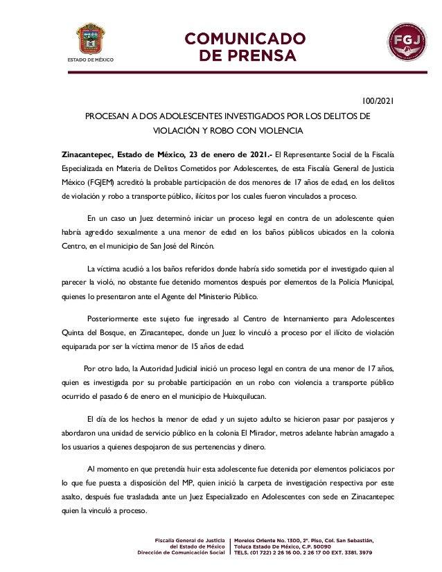 100/2021 PROCESAN A DOS ADOLESCENTES INVESTIGADOS POR LOS DELITOS DE VIOLACIÓN Y ROBO CON VIOLENCIA Zinacantepec, Estado d...