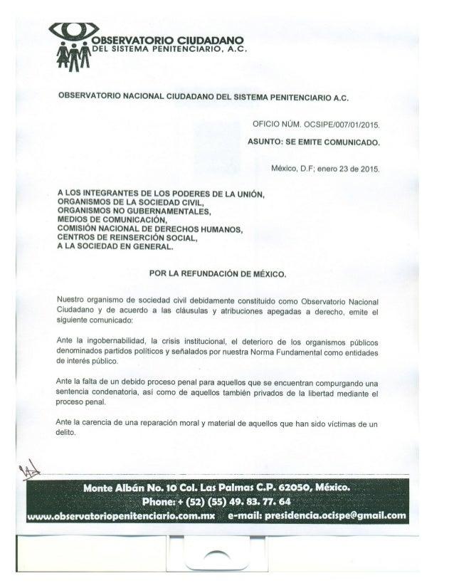 BSERVATORIO CIUDADANO   DEL SISTEMA PENITENCIARIO.  A. C.  OBSERVATÓRIO NACIONAL CIUDADANO DEL SISTEMA PENITENCIARIO A. C....