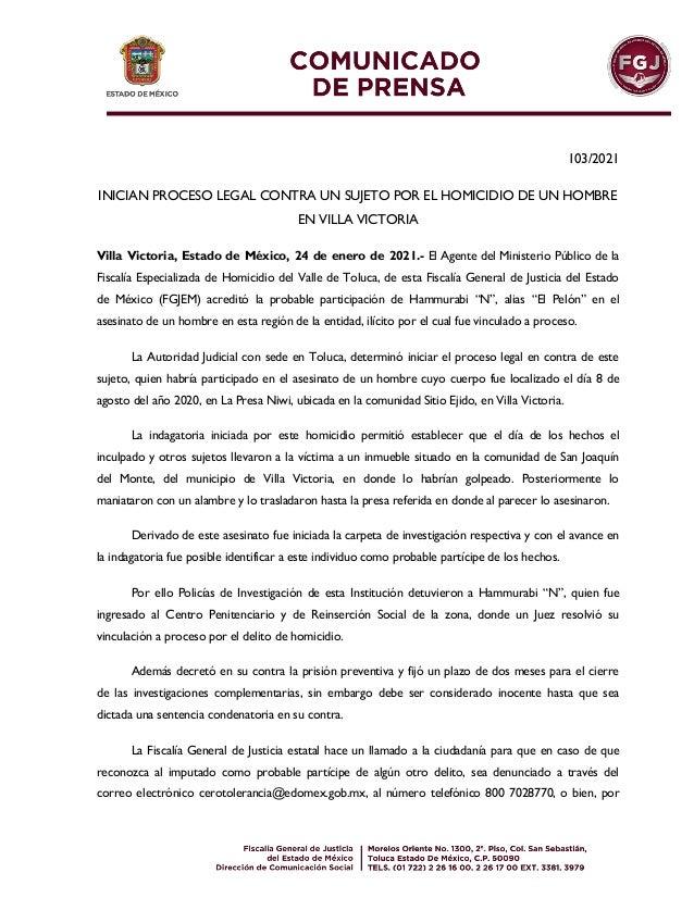 103/2021 INICIAN PROCESO LEGAL CONTRA UN SUJETO POR EL HOMICIDIO DE UN HOMBRE EN VILLA VICTORIA Villa Victoria, Estado de ...