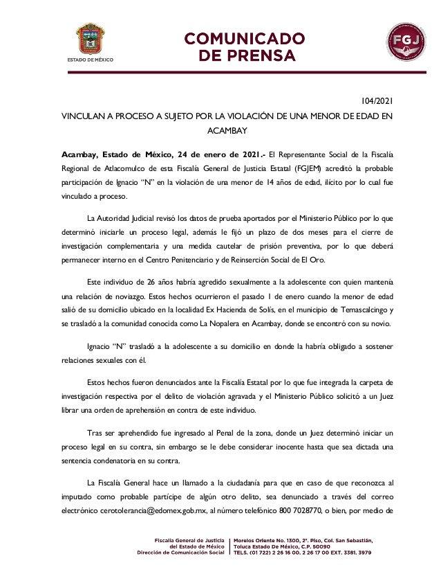 104/2021 VINCULAN A PROCESO A SUJETO POR LA VIOLACIÓN DE UNA MENOR DE EDAD EN ACAMBAY Acambay, Estado de México, 24 de ene...