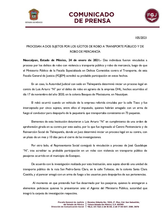 105/2021 PROCESAN A DOS SUJETOS POR LOS ILÍCITOS DE ROBO A TRANSPORTE PÚBLICO Y DE ROBO DE MERCANCÍA Naucalpan, Estado de ...