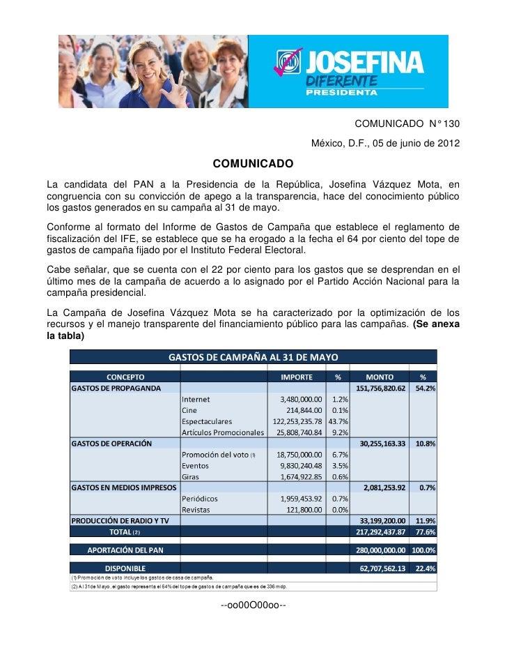 COMUNICADO N° 130                                                           México, D.F., 05 de junio de 2012             ...