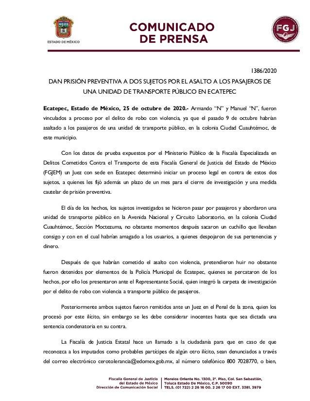 1386/2020 DAN PRISIÓN PREVENTIVA A DOS SUJETOS POR EL ASALTO A LOS PASAJEROS DE UNA UNIDAD DE TRANSPORTE PÚBLICO EN ECATEP...