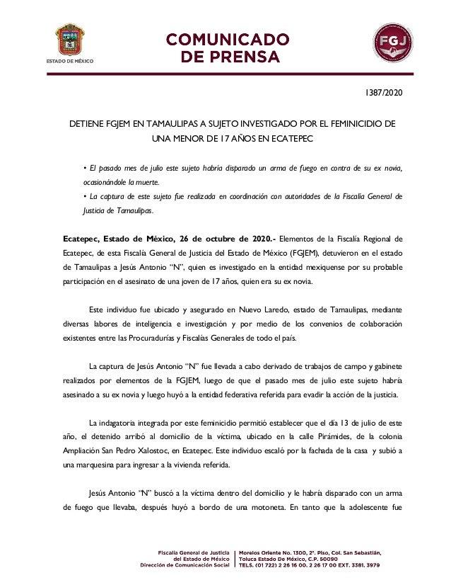 1387/2020 DETIENE FGJEM EN TAMAULIPAS A SUJETO INVESTIGADO POR EL FEMINICIDIO DE UNA MENOR DE 17 AÑOS EN ECATEPEC • El pas...