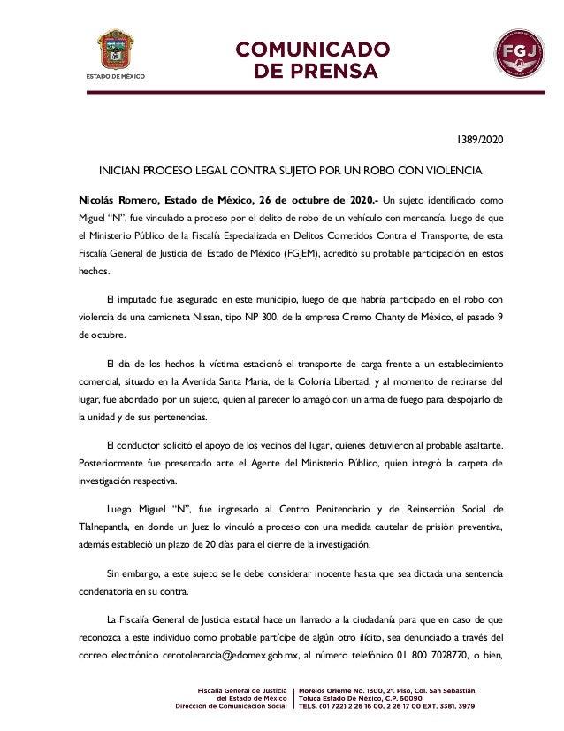 1389/2020 INICIAN PROCESO LEGAL CONTRA SUJETO POR UN ROBO CON VIOLENCIA Nicolás Romero, Estado de México, 26 de octubre de...