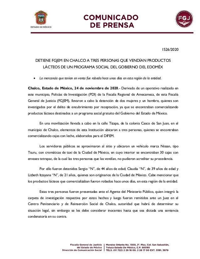 1526/2020 DETIENE FGJEM EN CHALCO A TRES PERSONAS QUE VENDÍAN PRODUCTOS LÁCTEOS DE UN PROGRAMA SOCIAL DEL GOBIERNO DEL EDO...