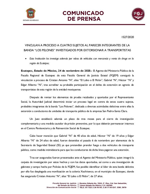 """1527/2020 VINCULAN A PROCESO A CUATRO SUJETOS AL PARECER INTEGRANTES DE LA BANDA """"LOS PELONES"""" INVESTIGADOS POR EXTORSIONA..."""