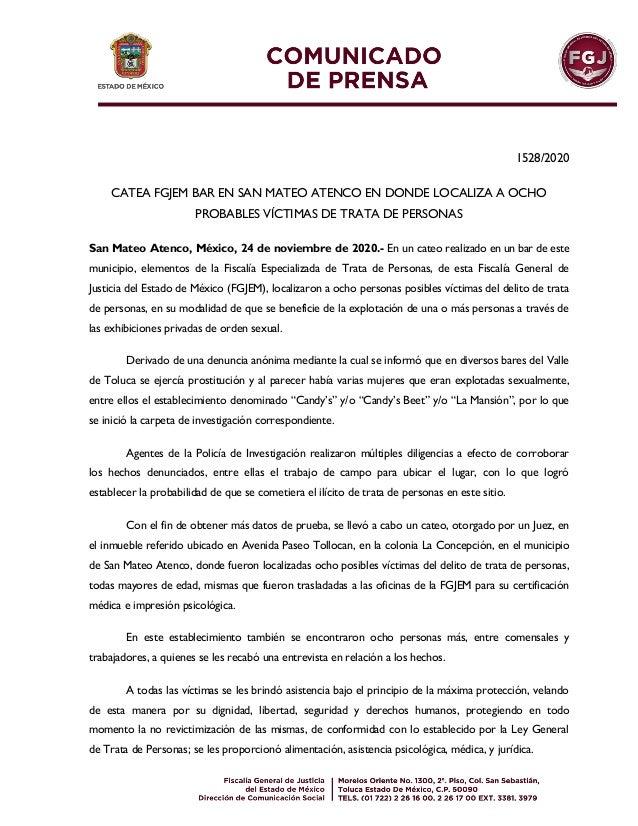 1528/2020 CATEA FGJEM BAR EN SAN MATEO ATENCO EN DONDE LOCALIZA A OCHO PROBABLES VÍCTIMAS DE TRATA DE PERSONAS San Mateo A...